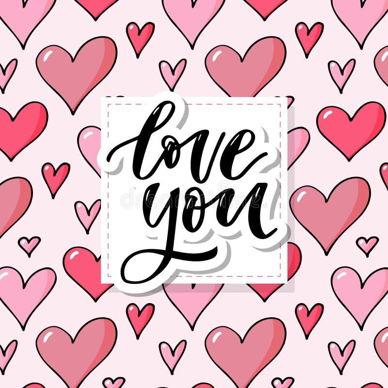 Romantisches Muster mit Handgezogenen roten Herzen Bunte Gekritzelherzen auf rotem Hintergrund Bereite Schablone f?r Design, Post stock abbildung