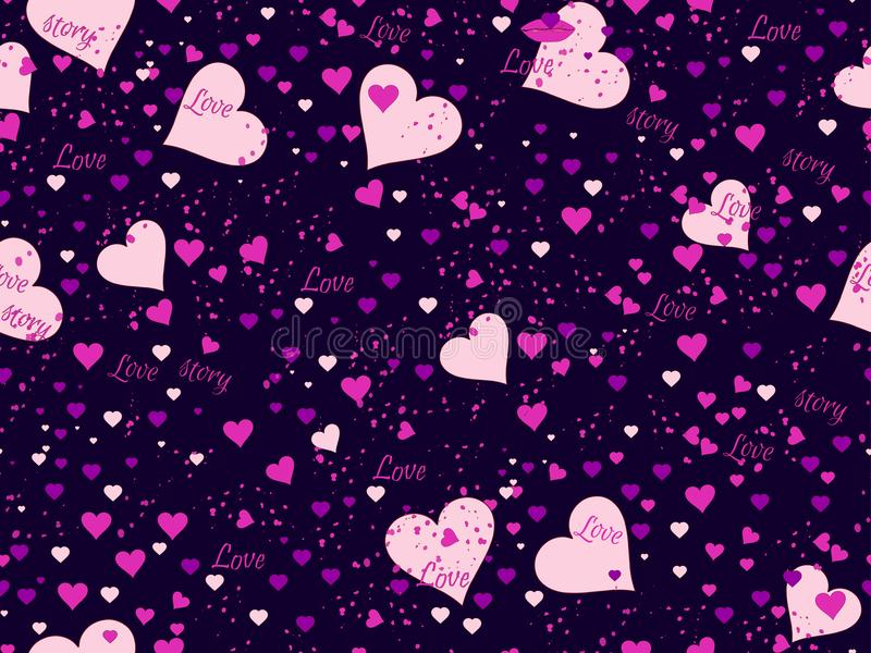 Romantisches nahtloses Muster Lieben Sie Hintergrund mit Herzen, Beeren und den Lippen Elemente der Schmutzart Vektor vektor abbildung