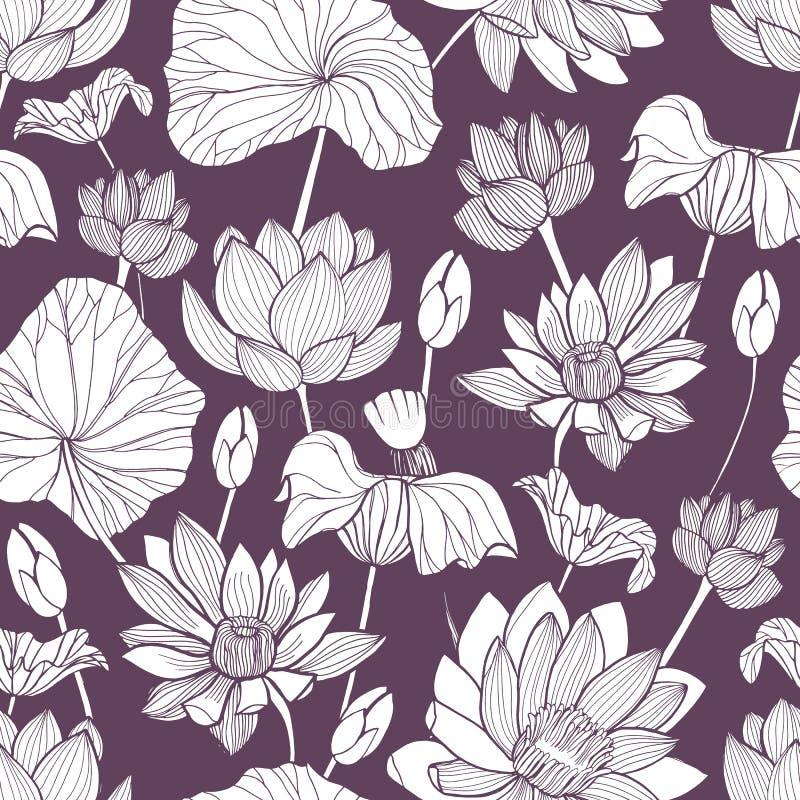 Romantisches nahtloses Muster mit der zarten blühenden Lotoshand gezeichnet mit Tiefenlinien auf purpurrotem Hintergrund Hintergr lizenzfreie abbildung