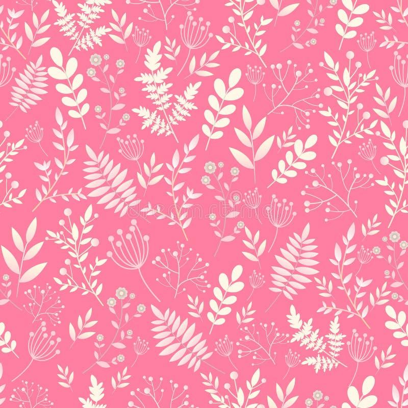 Romantisches nahtloses Muster, naive Blume mit Blättern, wilde Blumen, Frühling, Sommerzeit, Natur in der Blüte vektor abbildung