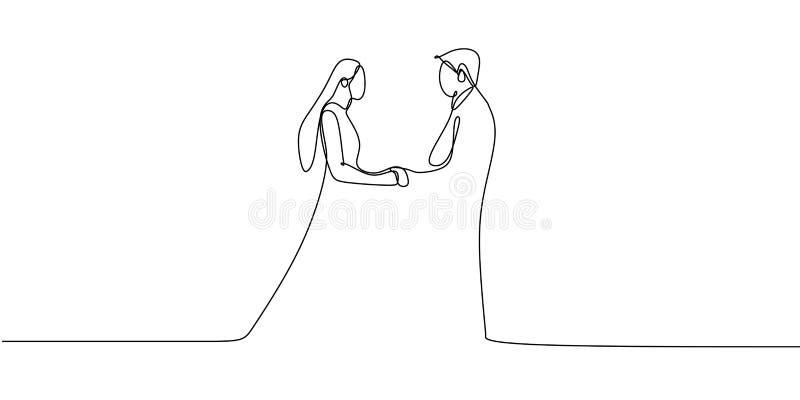 Romantisches Paarhändchenhalten mit ununterbrochenem Federzeichnungsvektor stock abbildung