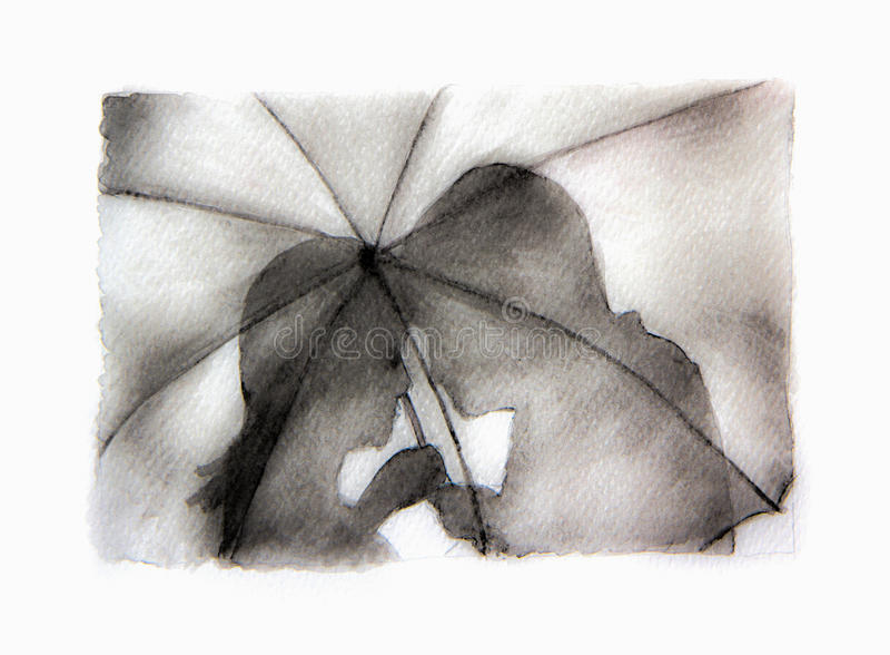 Romantisches Paarschattenbild Liebhaber Frau und Mann, die unter Regenschirm küssen stock abbildung