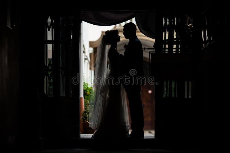Romantisches, sinnliches Jungvermähltenpaar silhouettiert das Umarmen im Eingang stockfotos