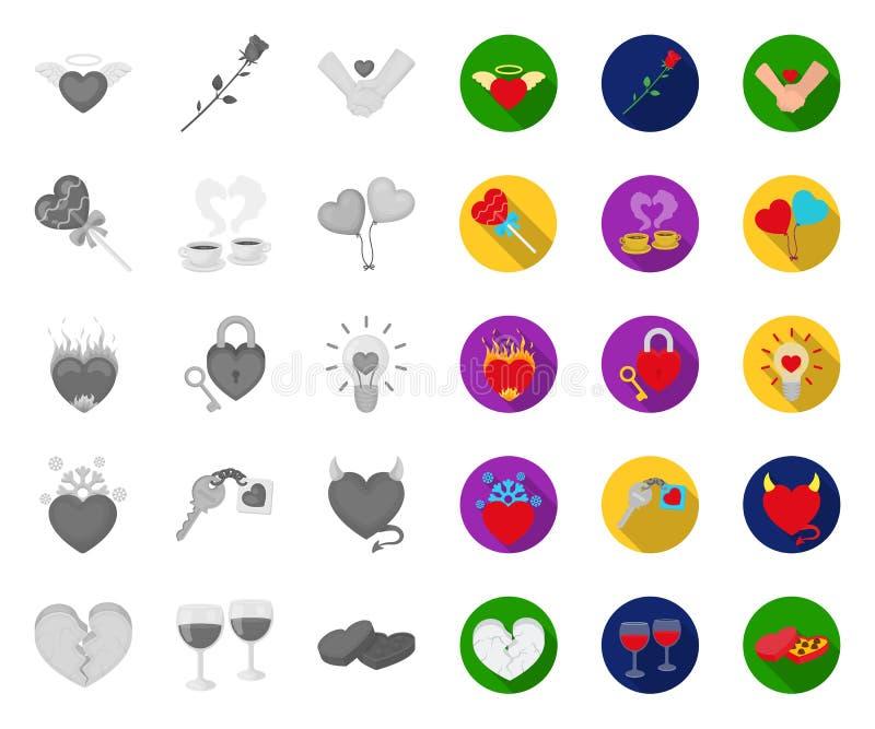 Romantisches Verhältnis mono, flache Ikonen in gesetzter Sammlung für Entwurf Liebes- und Freundschaftsvektorsymbol-Vorratnetz stock abbildung