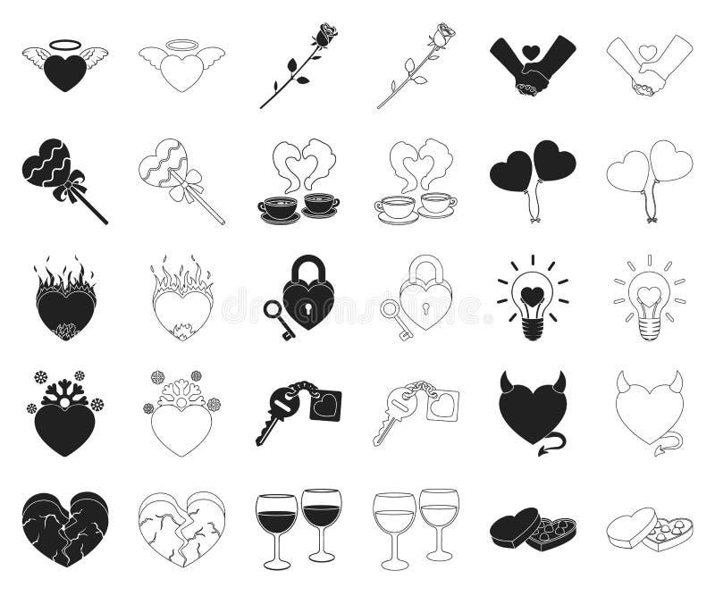 Romantisches Verhältnis-Schwarzes, Entwurfsikonen in gesetzter Sammlung für Entwurf Liebes- und Freundschaftsvektorsymbol-Vorratn lizenzfreie abbildung