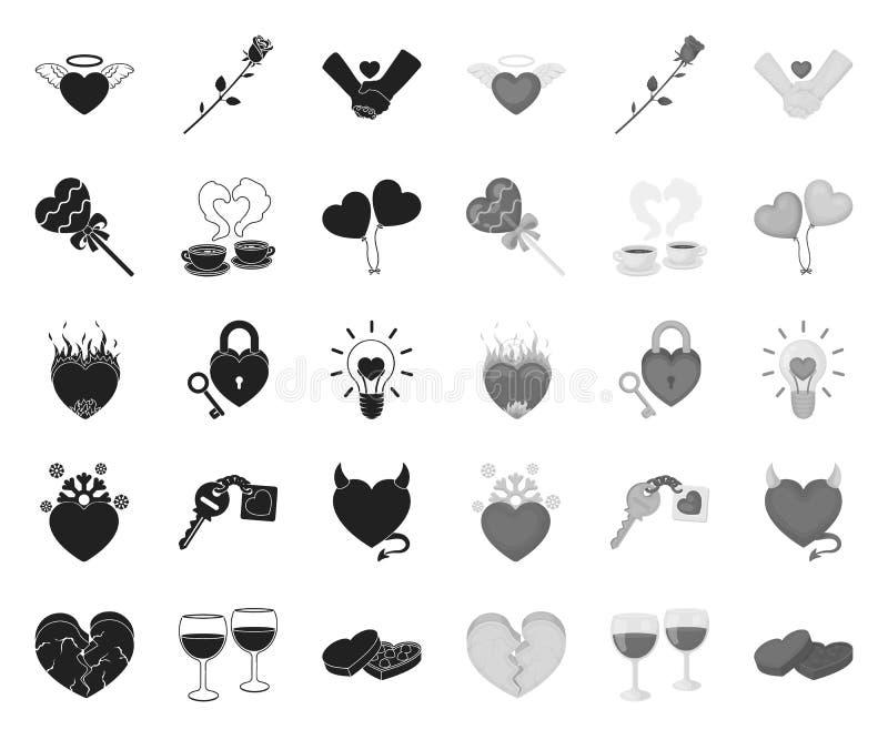 Romantisches Verh?ltnis-Schwarzes Monoikonen in gesetzter Sammlung f?r Entwurf Liebes- und Freundschaftsvektorsymbol-Vorratnetz stock abbildung