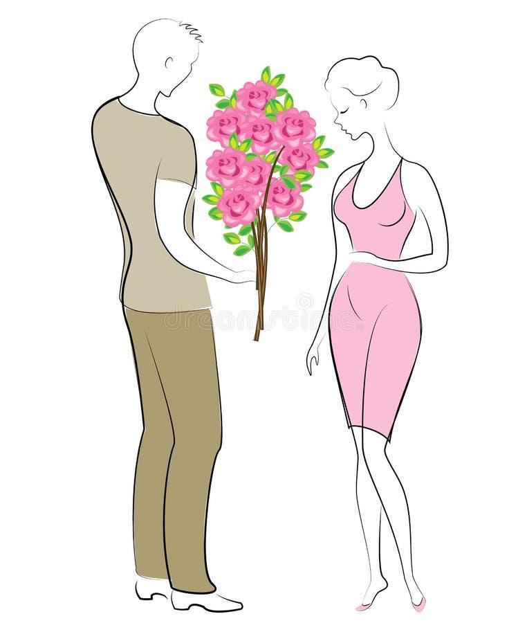 Romantisches Verhältnis von glücklichen Liebhabern Ein junger Mann und ein Mädchen auf einem Datum Der Kerl gibt der Dame einen s stock abbildung