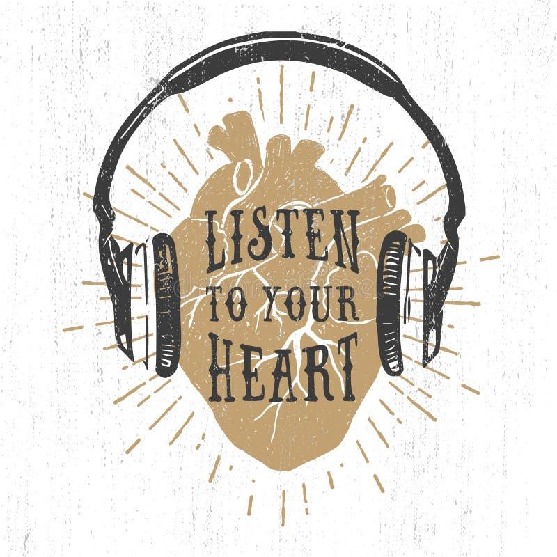 Romantisk affisch med mänsklig hjärta, hörlurar och bokstäver stock illustrationer