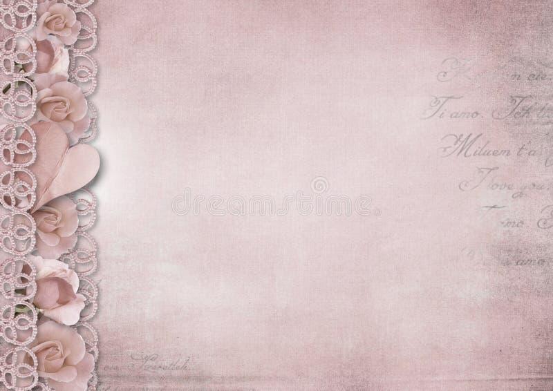 Romantisk bakgrund för Retro tappning med rosor och hjärta vektor illustrationer