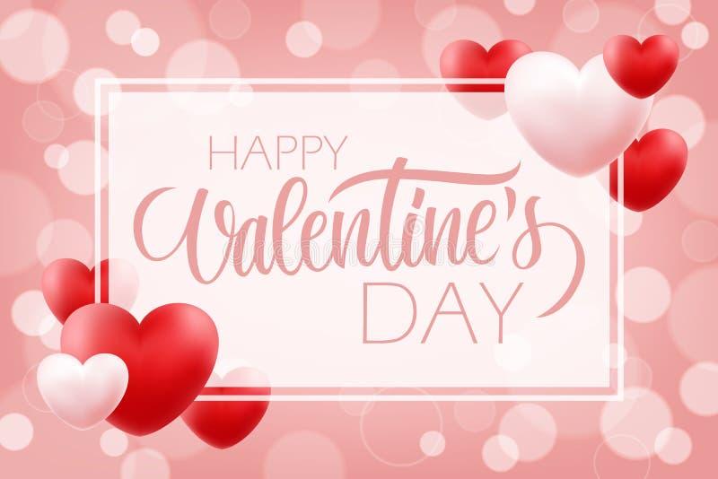 Romantisk bakgrund för valentindag med lyckliga valentin för handbokstäver dag och röda rosa hjärtor 14 februari feriehälsningar royaltyfri illustrationer