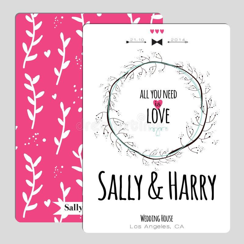 Romantisk blom- räddning för bröllop datuminbjudan stock illustrationer