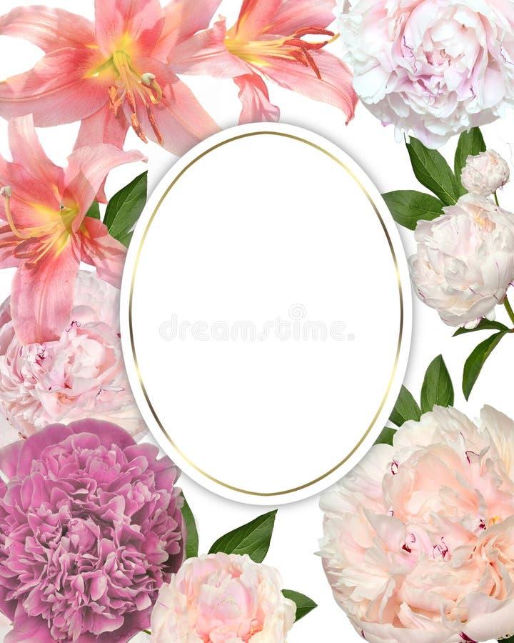 Romantisk blom- ram för tappningvår med försiktiga rosa liljor, pionblommor och sidor Festlig bakgrund för hälsningkort, royaltyfri illustrationer