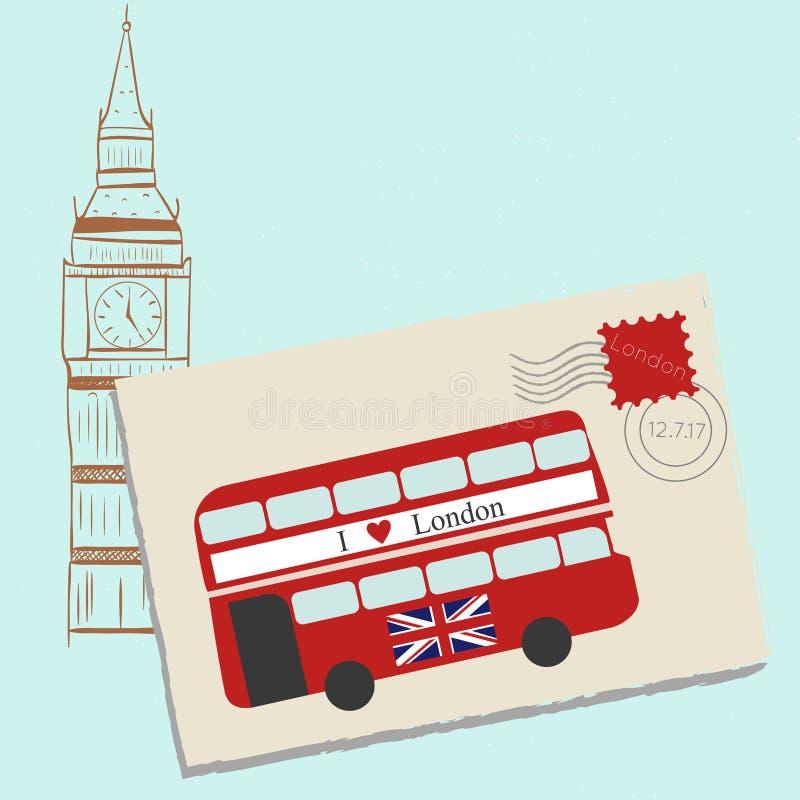 Romantisk bokstav till London royaltyfri illustrationer