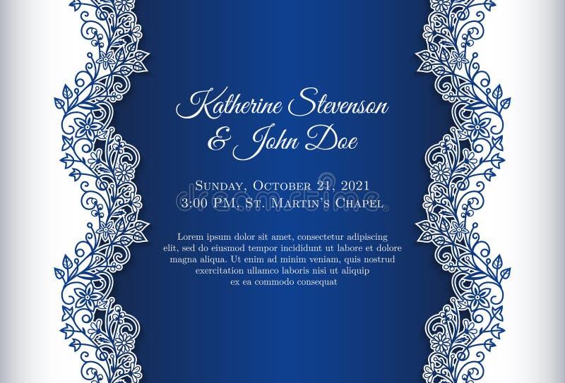Romantisk bröllopinbjudan med blå bakgrund a stock illustrationer