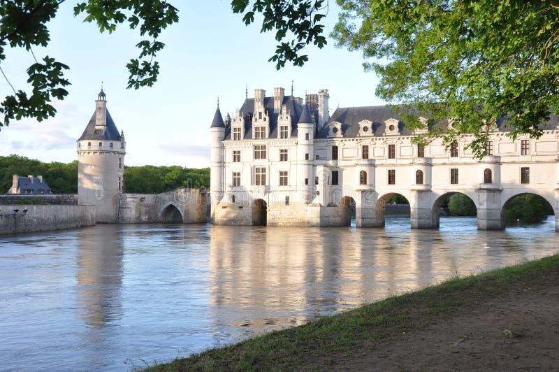 Romantisk Chenonceau slott royaltyfria foton
