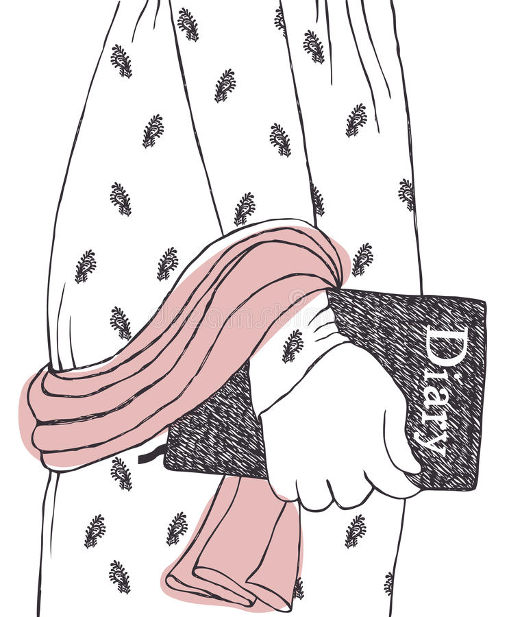 Romantisk dagbok vektor illustrationer