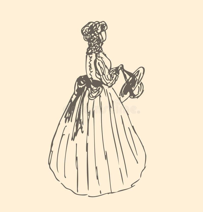 Romantisk dam i retro kläder. Flicka i tappningklänning vektor illustrationer