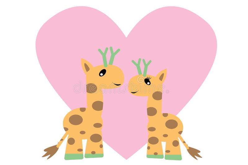 Romantisk förälskelsegiraff, valentindag 14 royaltyfri illustrationer