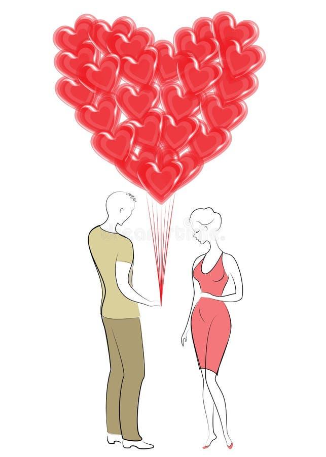 Romantisk f?r?lskelse En ung man ger en söt dam en bukett av ballonger i formen av en hjärta Dag f?r valentin s ocks? vektor f?r  royaltyfri illustrationer