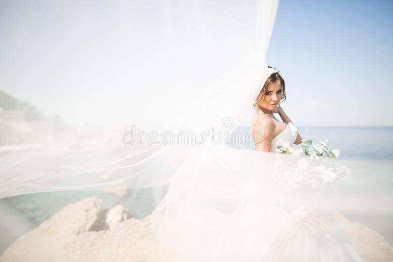 Romantisk härlig brud i den vita klänningen som poserar på bakgrundshavet royaltyfria bilder