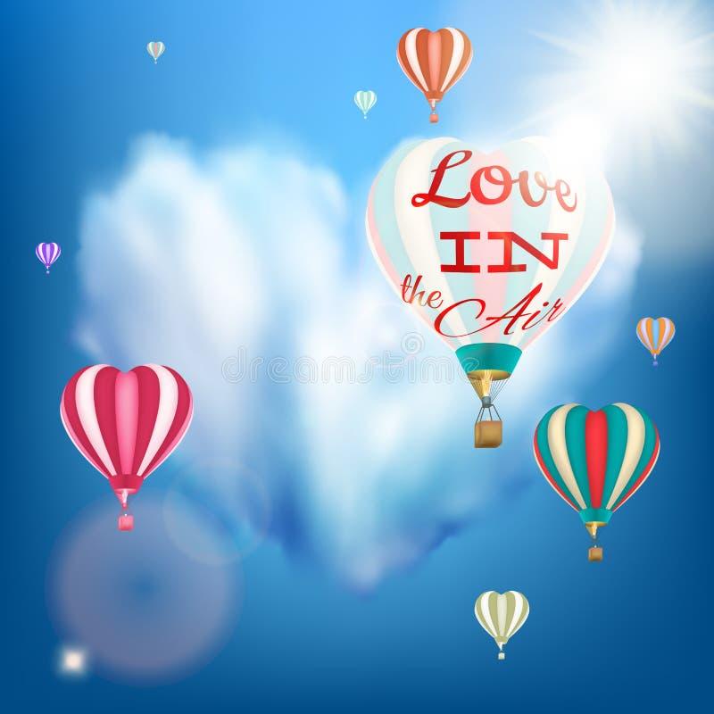 Romantisk hjärta formad luftballong 10 eps stock illustrationer