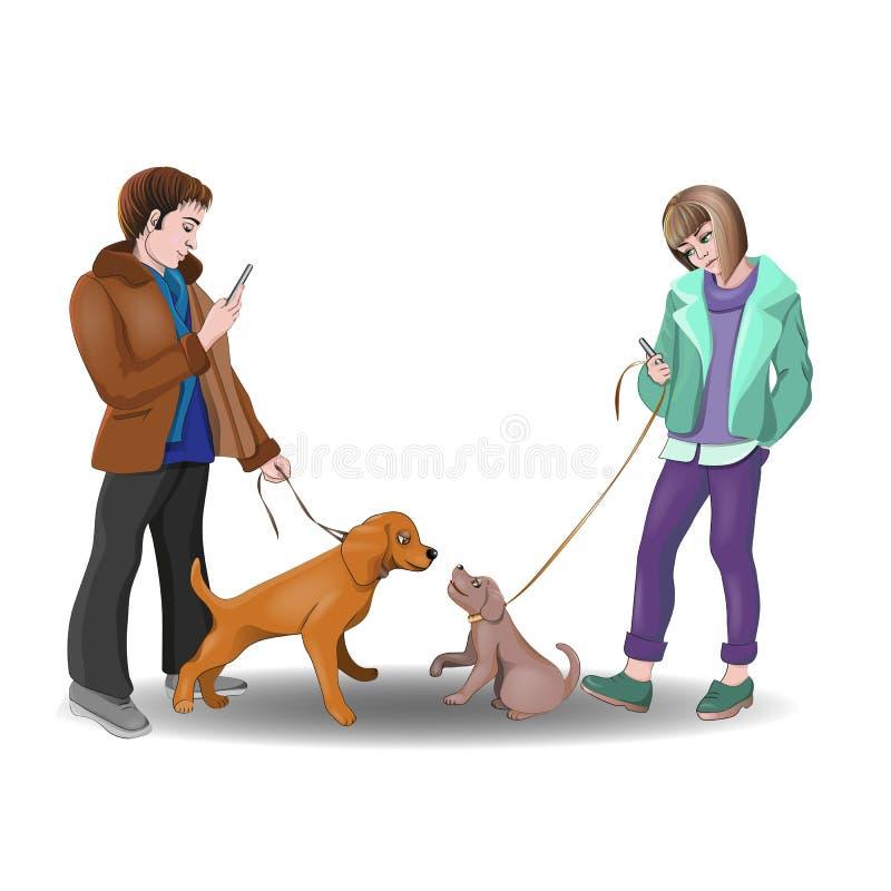 Romantisk hundkapplöpning för datum två och deras ägare royaltyfri illustrationer