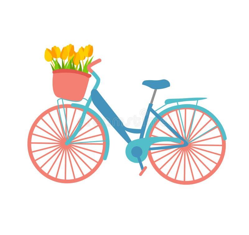 Romantisk illustration om våren som presenterar en cykel med en blommakorg i pastellfärger Retur den plana designen för vektorill stock illustrationer