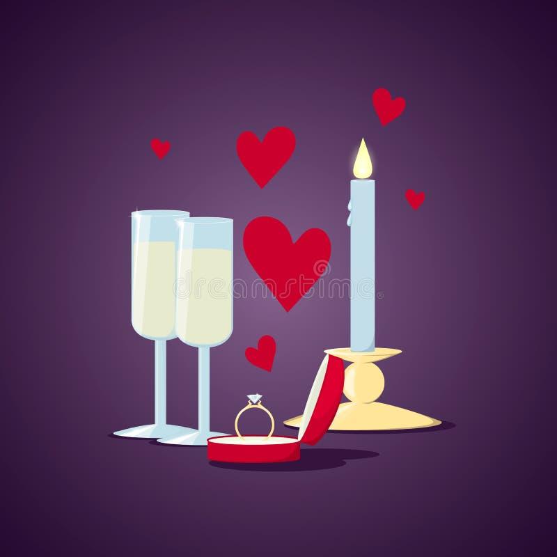 Romantisk illustration valentin för dag s Gifta sig den guld- cirkeln med diamanten i röd ask Hjärta stearinljus, champagne vektor illustrationer