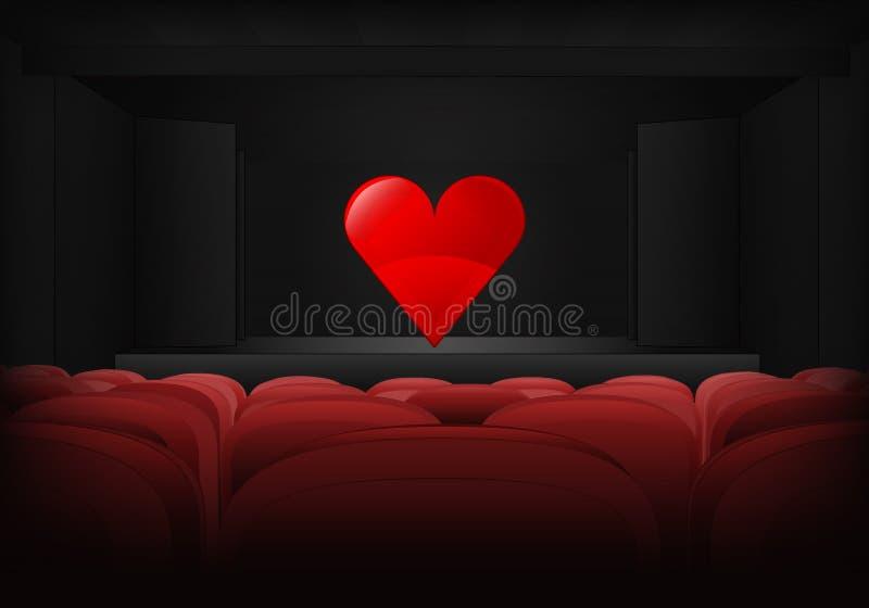 Romantisk kapacitet på etappen i teaterinrevektor stock illustrationer