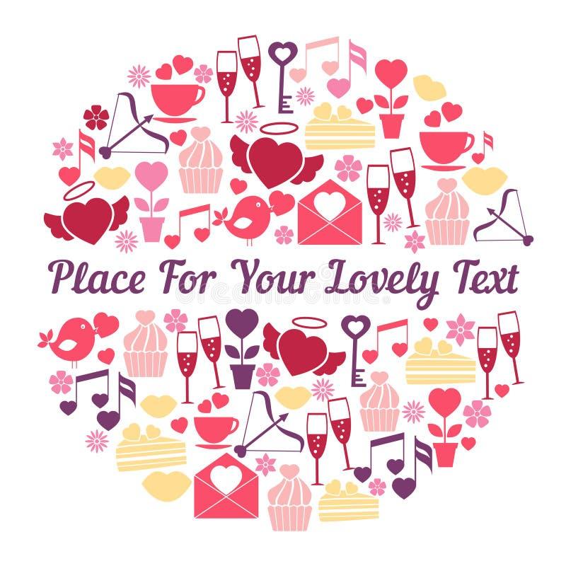 Romantisk kortdesign med utrymme för text vektor illustrationer