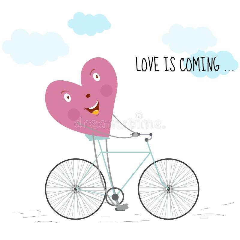 Romantisk kortförälskelse är den kommande illustrationen för hälsningkort, inbjudningar, och andra printing- och rengöringsdukpro stock illustrationer