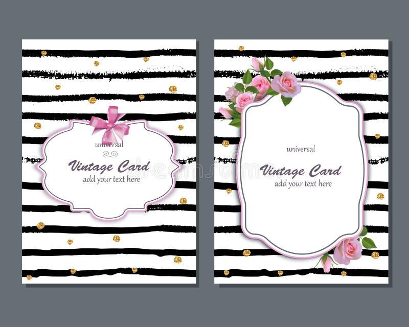 Romantisk kortmall för universell vektor med rosa rosor Spara datumet, den brud- duschen, födelsedagen, inbjudankort royaltyfri illustrationer