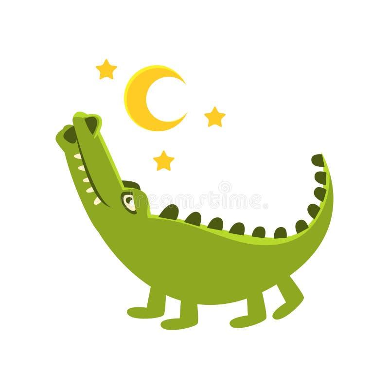 Romantisk krokodil som går under natthimmel, tecknad filmtecken och hans dagliga aktivitetsillustration för löst djur vektor illustrationer