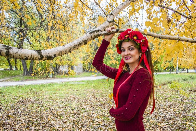 Romantisk kvinna för höst med en krans i hennes hår royaltyfria foton