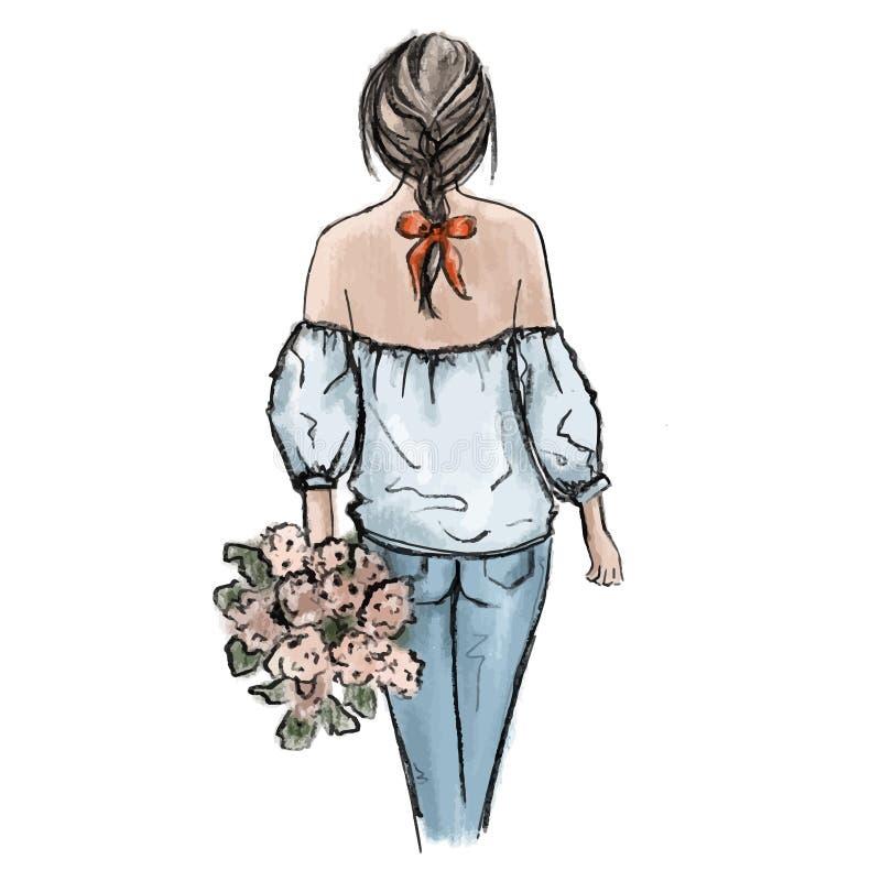 Romantisk kvinnaillustration Hand dragen härlig för innehavblomma för ung kvinna bukett Jeans för glamourmodedräkt royaltyfri illustrationer