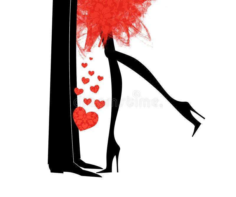 Romantisk kyss stock illustrationer