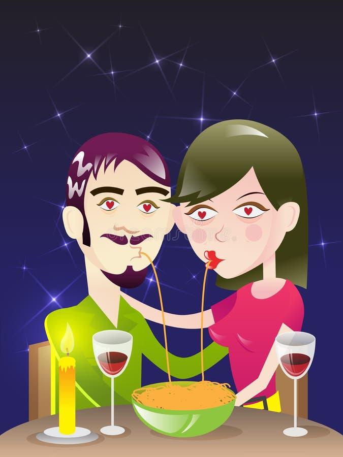 Romantisk matställe/illustration vektor illustrationer