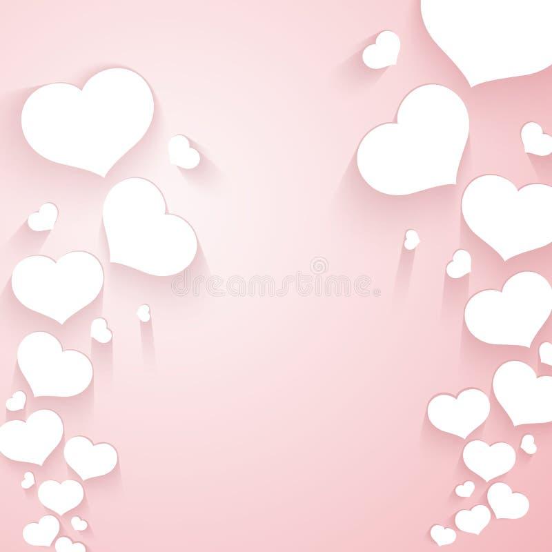 Romantisk modell med flyghjärtor på en tom mall för försiktig rosa bakgrund för affischbanervalentin annonseringar för dag stock illustrationer