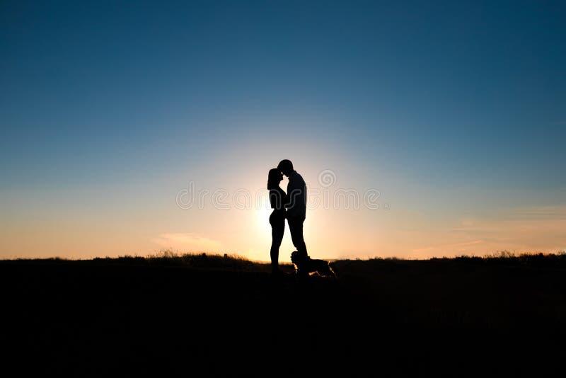 Romantisk parkram på solnedgången på bakgrund fotografering för bildbyråer