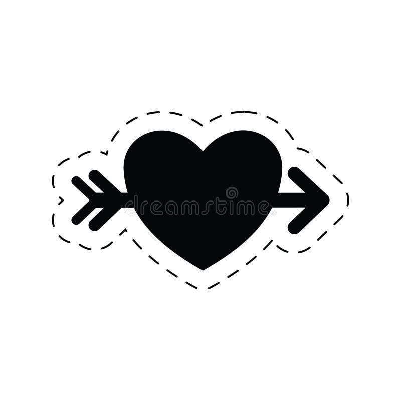romantisk pictogram för hjärtaförälskelsepil stock illustrationer