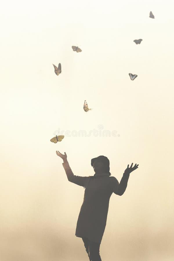 Romantisk plats av ett möte mellan en kvinna och färgrika fjärilar royaltyfria bilder