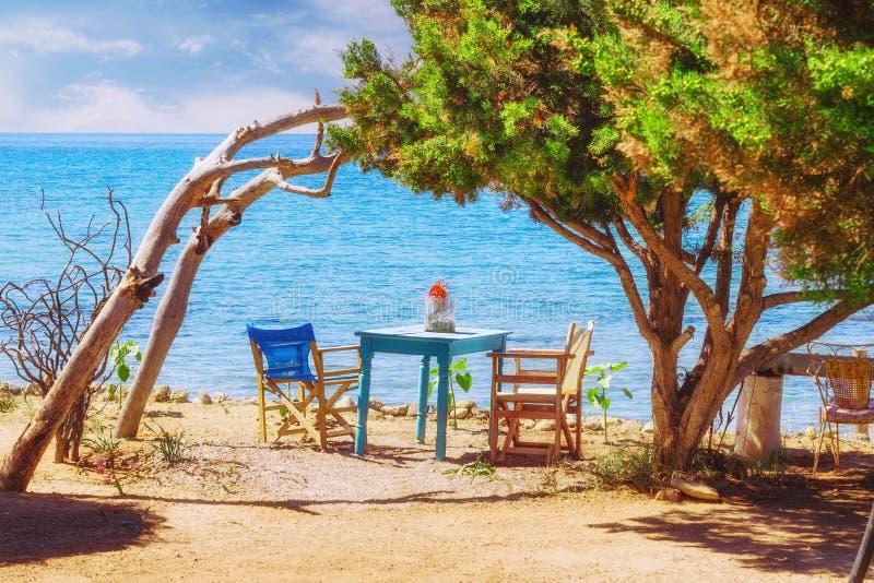 Romantisk plats på den Dafni stranden, Zakynthos ö arkivbilder