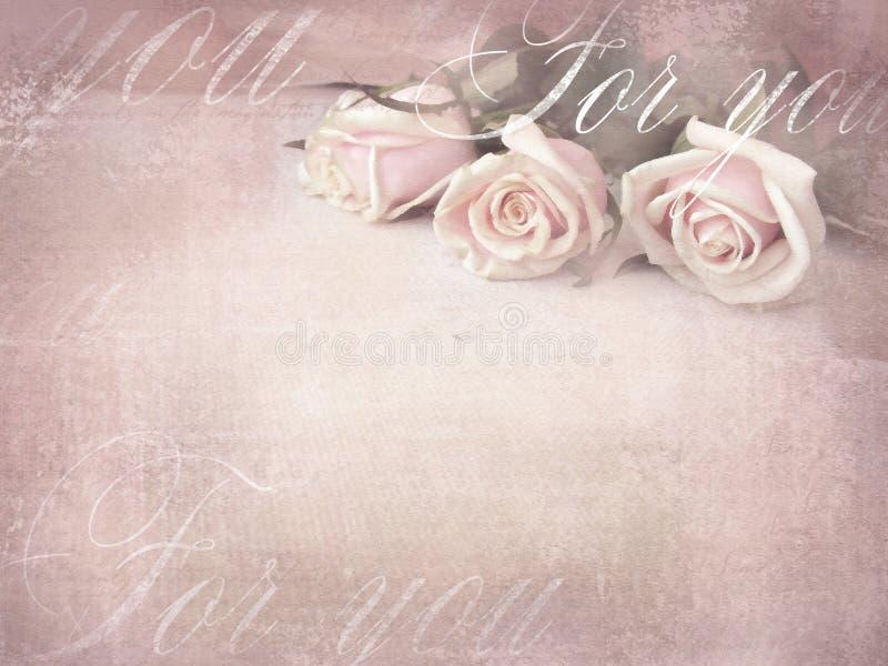 Romantisk retro grungebakgrund med rosor stock illustrationer