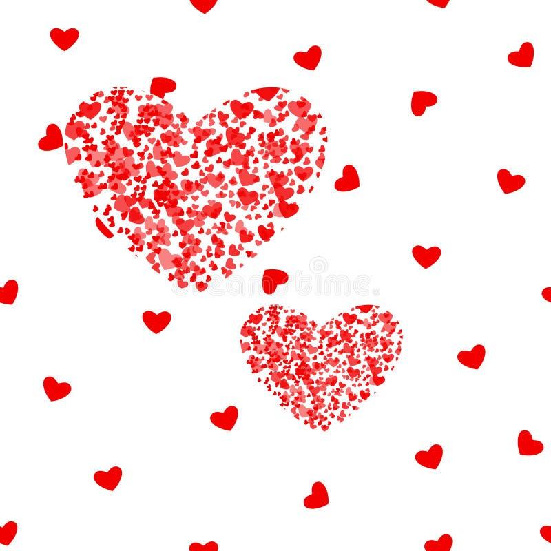 Romantisk rosa hjärtabakgrund Vektorillustration för feriedesign Många flyghjärtor på den vita modellen För att gifta sig vektor illustrationer