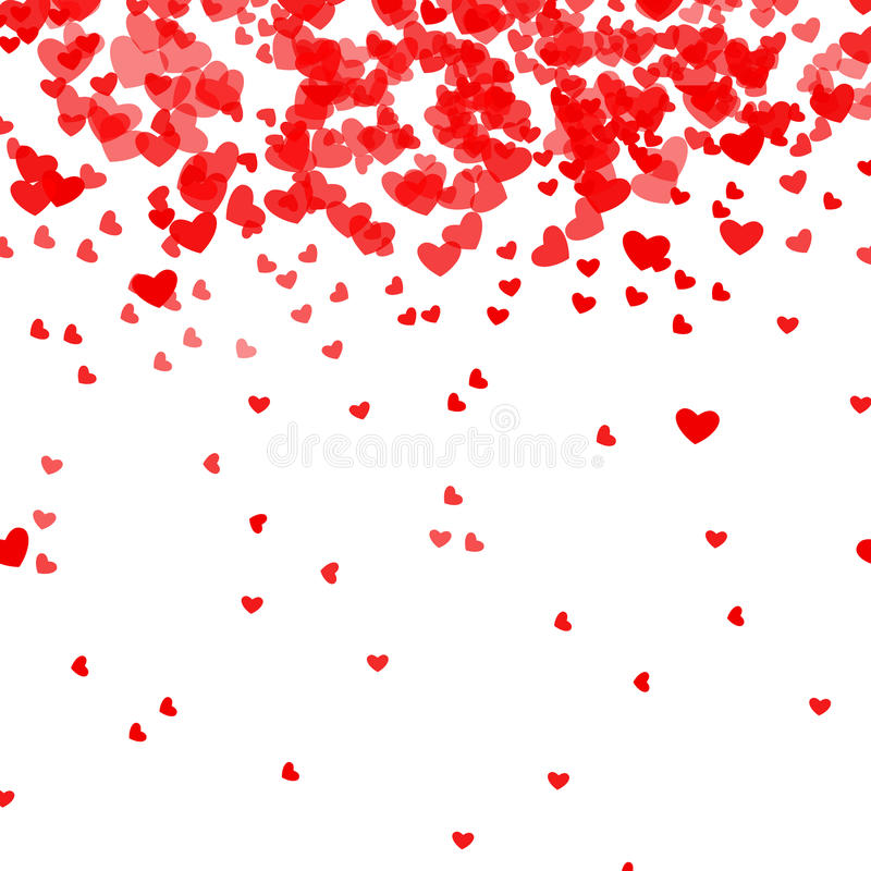 Romantisk rosa hjärtabakgrund Vektorillustration för feriedesign Många flyghjärtor på den vita modellen För att gifta sig stock illustrationer