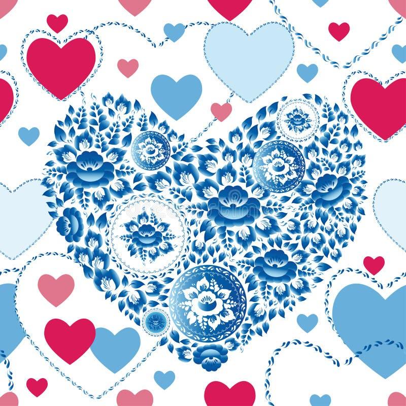 Romantisk sömlös modell för bröllop med hjärtor, blommor i retro stil stock illustrationer