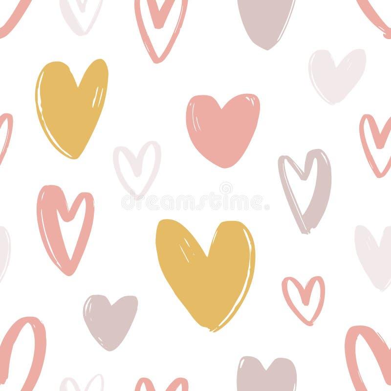 Romantisk sömlös modell med gulliga stiliserade utdragna hjärtor för hand på vit bakgrund Dekorativ bakgrund med förälskelse vektor illustrationer