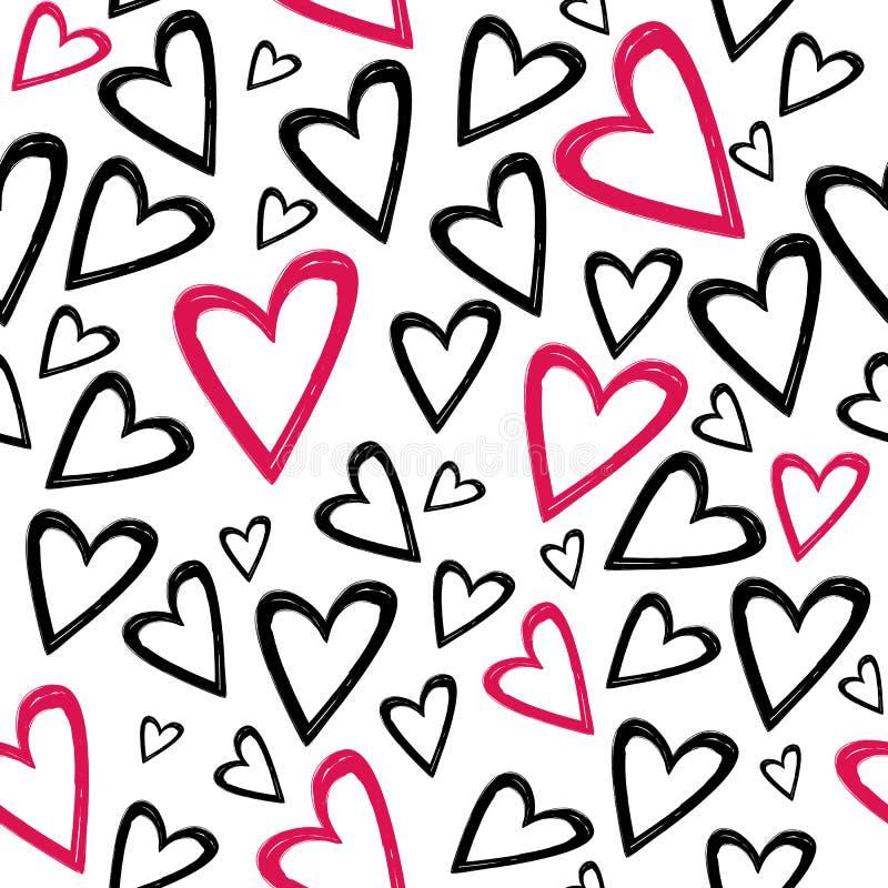 Romantisk sömlös modell med hand drog hjärtor stock illustrationer