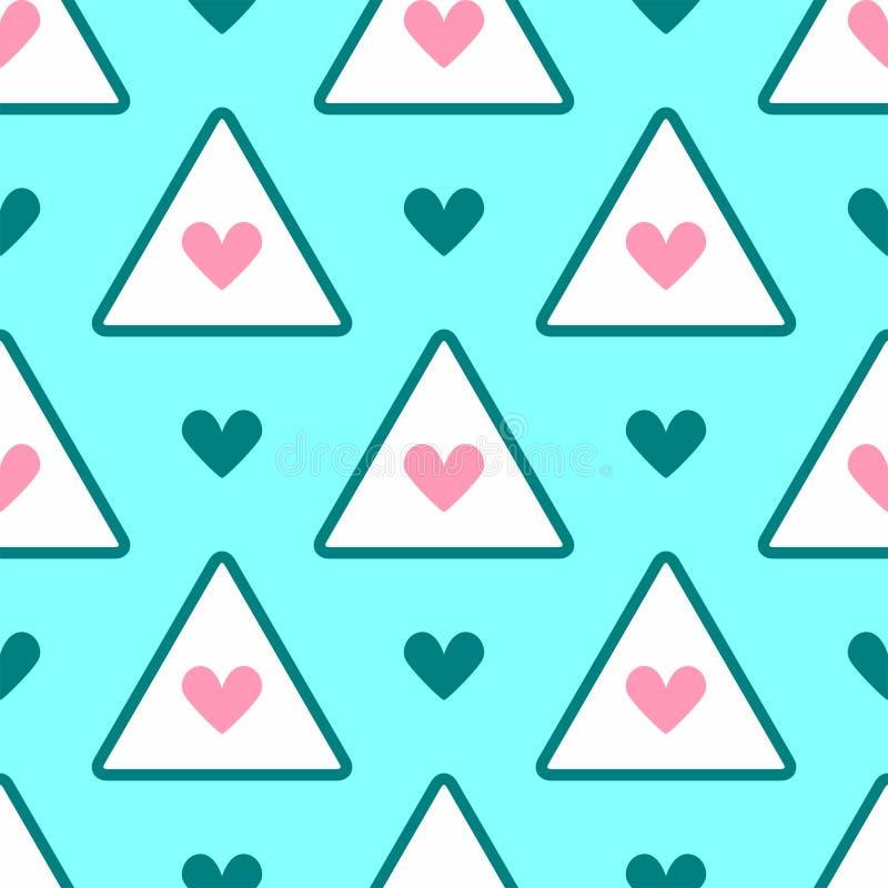 Romantisk sömlös modell med hjärtor och trianglar Gulligt flickaktigt tryck royaltyfri illustrationer