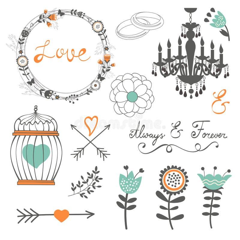 Romantisk samling med blommor, kransar och stock illustrationer